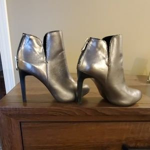 Zara Trafaluc Silver Lame Ankle Booties
